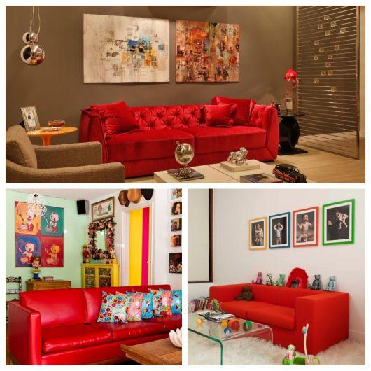 Sofá vermelho com quadros