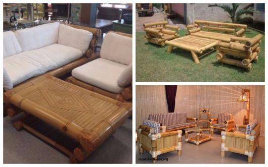 conjunto de móveis de bambu