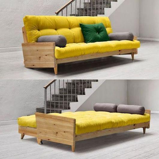 sofá futon amarelo de casal