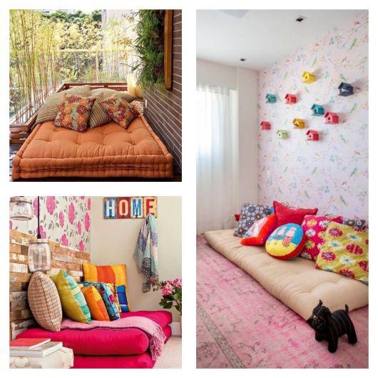 sofás futon coloridos