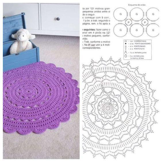 tapete de croche redondo simples roxo com gráfico