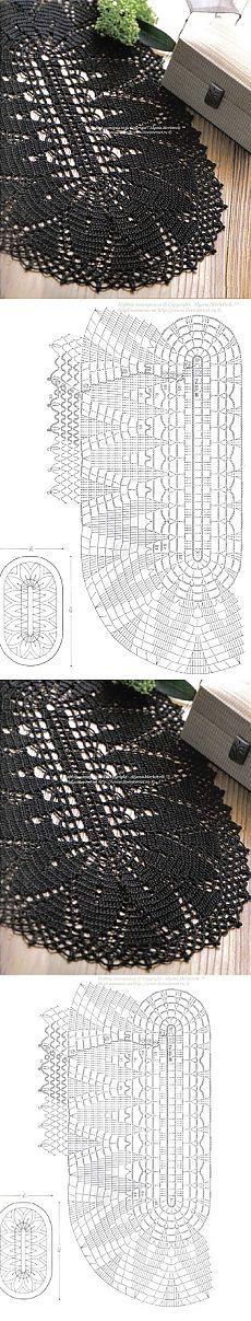 gráfico de tapete preto oval