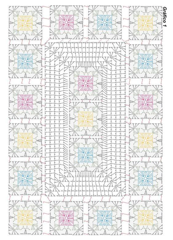 gráfico crochê quadrados