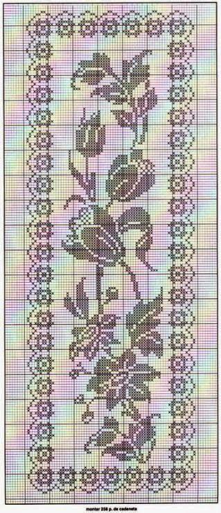 gráfico de tapete com flores em crochê filé