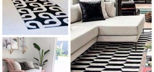 Tapete preto e branco modelos geométricos