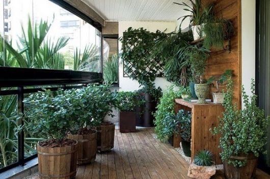 varanda de madeira muitas plantas