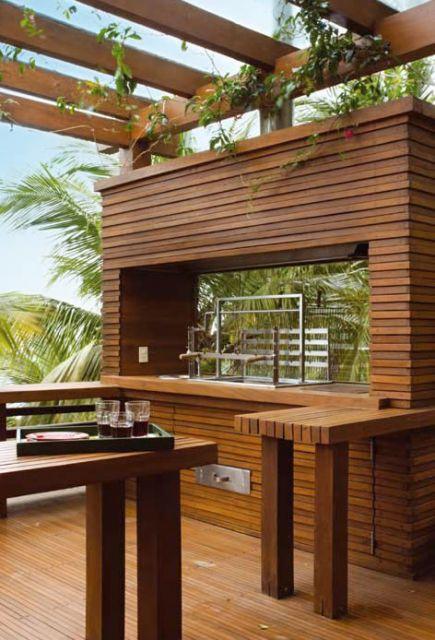 varanda de madeira churrasqueira moderna