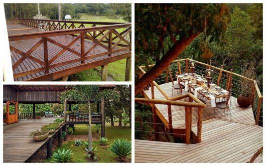 varanda de madeira suspensa modelos