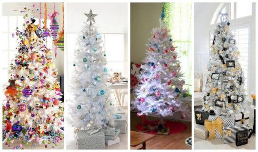 Montagem com diferentes tipos de decoração para árvore de Natal branca.
