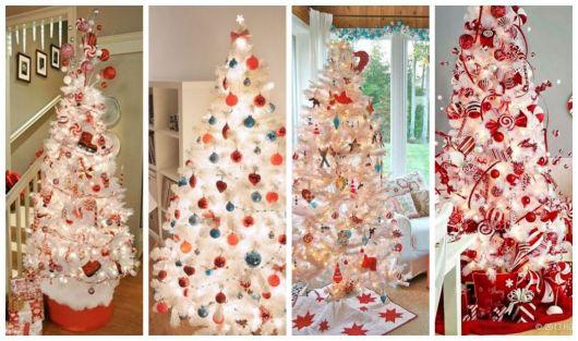 Montagem com quatro árvores de Natal branca diferentes.