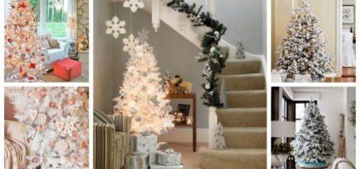Montagem com cinco tipos de árvore de Natal branca.