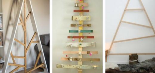 árvores de Natal feitas com estruturas de madeiras planas