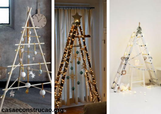 árvores de Natal diferentes feitas com escadas