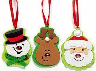 Enfeites de Papail Noel, Rena e Boneco de Neve.