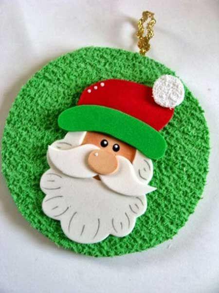 Enfeite de CD com imagem do Papai Noel.