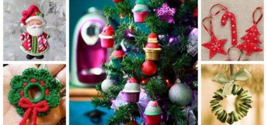 Montagem com cinco diferentes tipos de enfeites para Árvore de Natal.