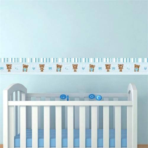 faixa para quarto de bebê masculino azul com berço na frente