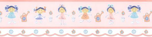 faixa para quarto de bebê feminino com desenho de meninas