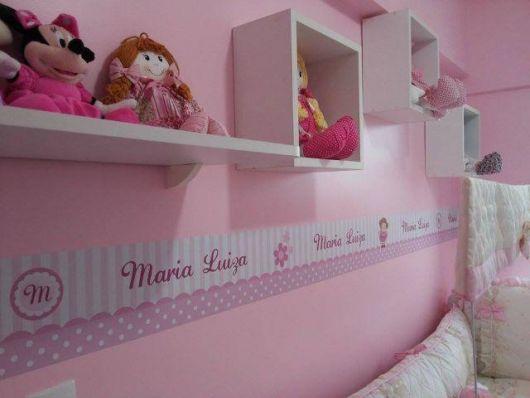 faixas para quarto de bebê com nome da menina