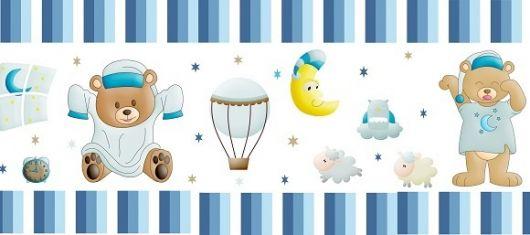 faixa para quarto de bebê para menino azul com ursos e lua