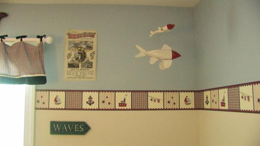 faixa para quarto de bebê nas cores azul e bege