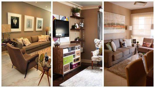 Montagem com três salas com parede marrom.