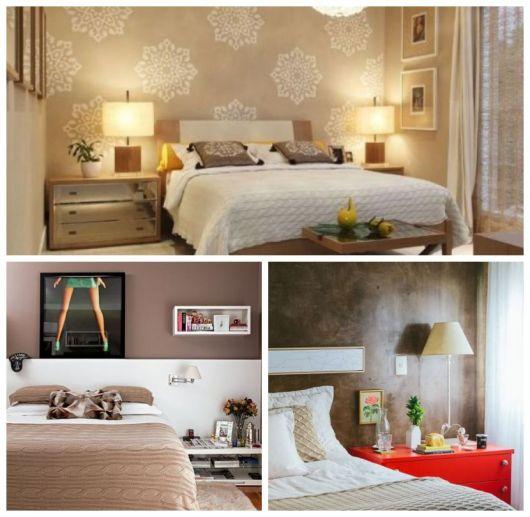 Montagem com três tipos de quarto com parede marrom.