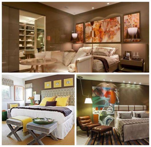 Montagem com imagens de quartos com paredes marrom.