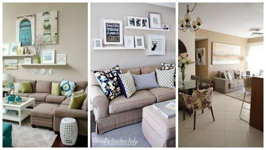 Montagem com três imagens de cômodos com parede marrom claro.
