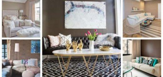 Montagem com cinco fotos de ambientes com parede marrom.