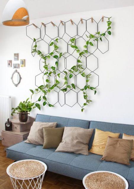 planta em grade sobre sofá