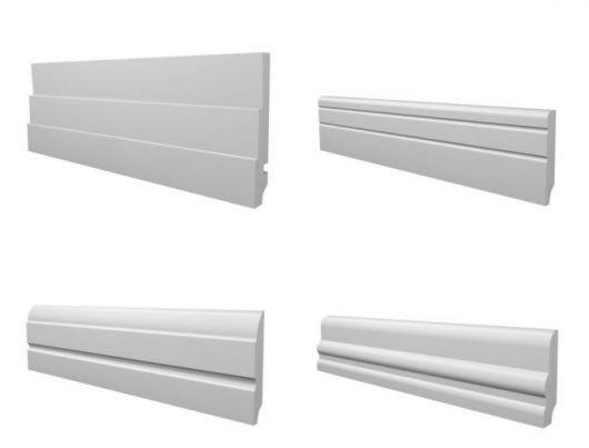 Quatro modelos diferentes de rodapé de EVA branco.