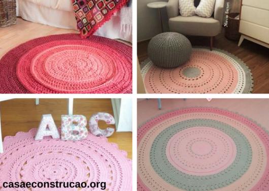 tapetes rosas redondos de crochê