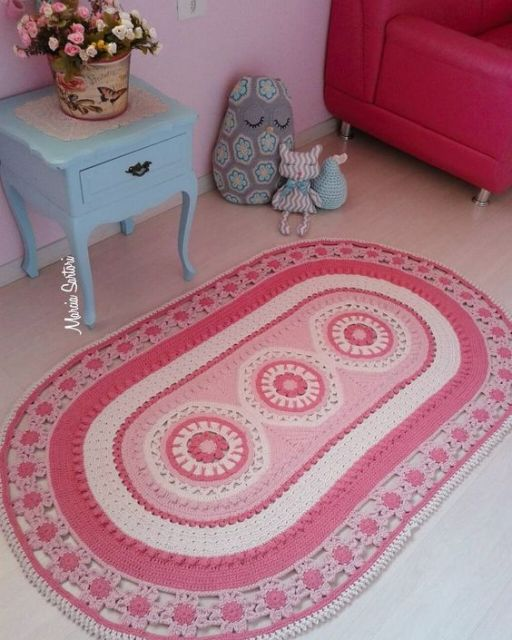 tapete rosa de crochê
