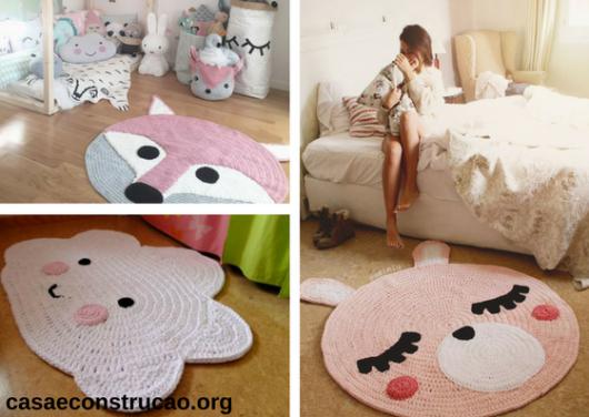 tapetes rosas de crochê com formato de animais