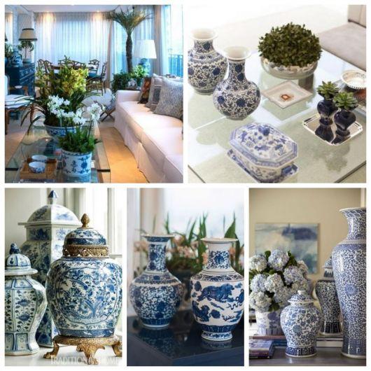 Montagem com cinco imagens de decoração com vaso chinês azul e branco.