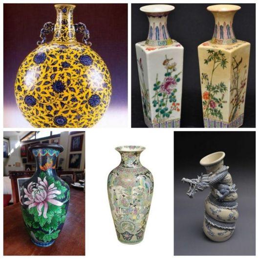 Montagem com cinco modelos diferentes de vaso chinês.