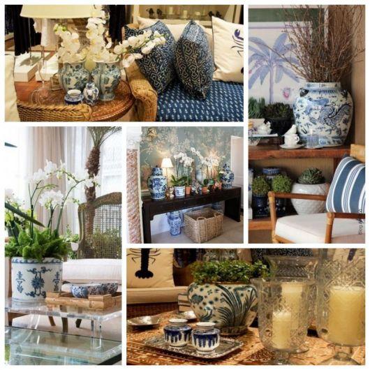 Montagem com imagens de casas com vasos chinês.