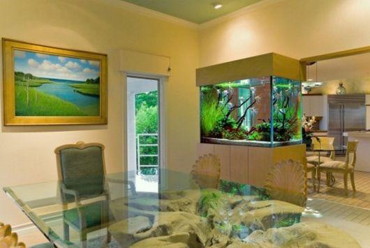 modelo pequeno de aquário de água doce na sala