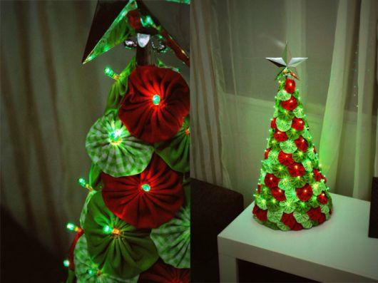 árvore de natal artesanal fuxico com luzinhas