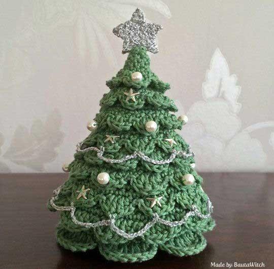árvore de natal artesanal crochê verde