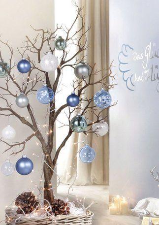 árvore de natal artesanal galho com bolas