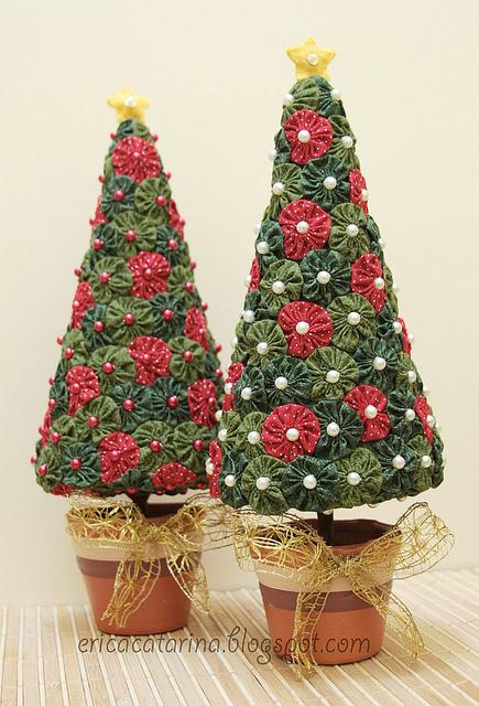 árvore de natal artesanal modelo de fuxicos
