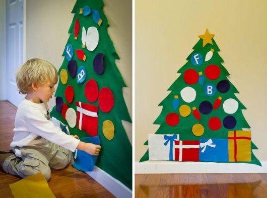árvore de natal artesanal feltro colorido