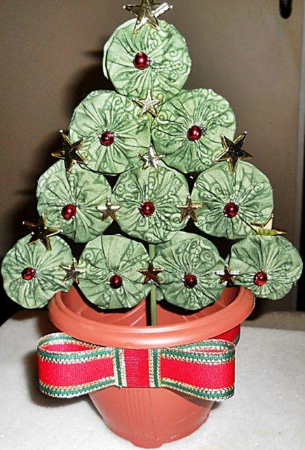 árvore de natal artesanal fuxico verde