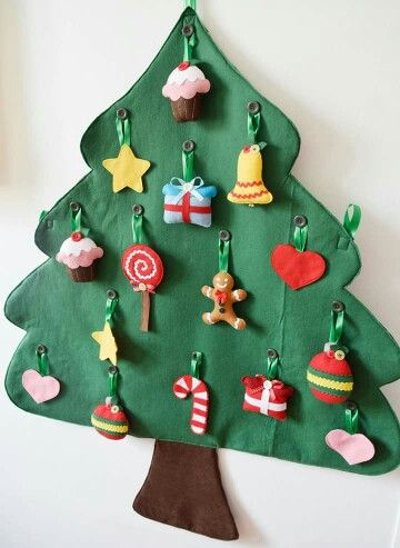 árvore de natal artesanal divertida feltro