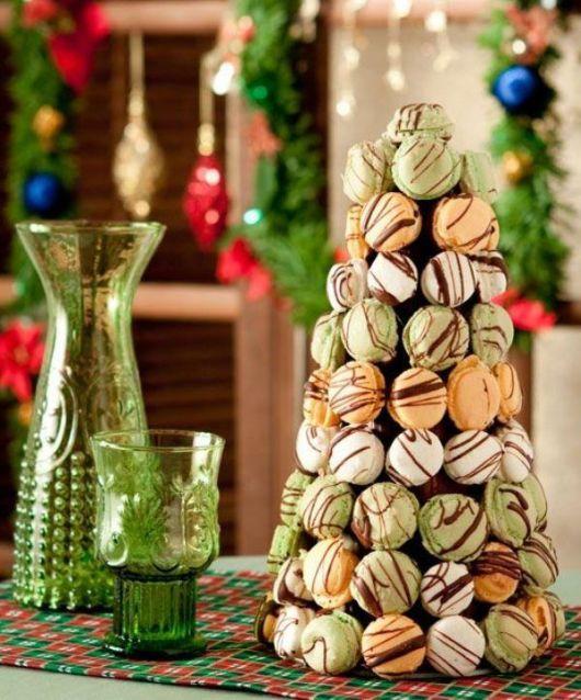 árvore de natal artesanal comestível macarons
