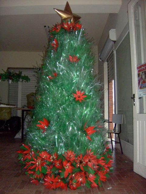 árvore de natal artesanal garrafa desfiada