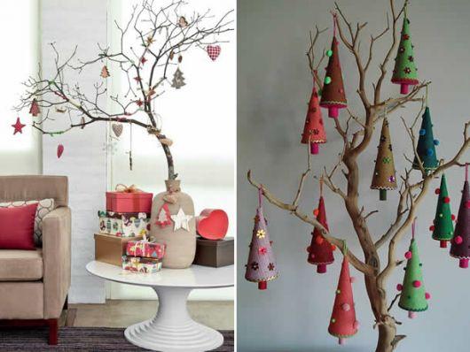 árvore de natal artesanal galho seco enfeitada