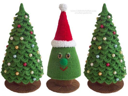 árvore de natal artesanal fofa de crochê